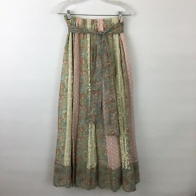 VTG Chessa Davis boho lace striped peasant skirt Womens Small Medium pink floral