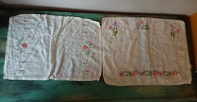2 x FABULOUS VINTAGE HAND EMBROIDERED LINEN Tablecloth floral mats rectangular