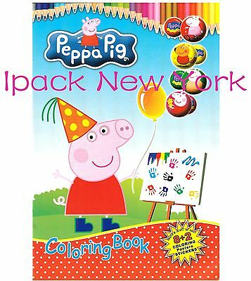 New Peppa pig Coloring Book with Stickers .