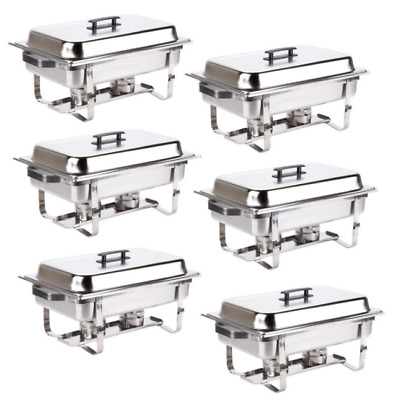 Chafer Pans Catering Trays Equipment Containers Serving Dishes Warming Kit (6pk)