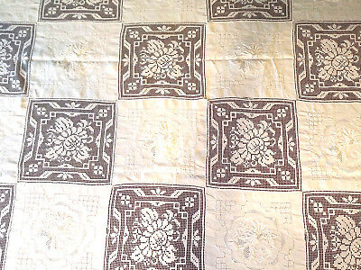 Vtg Antique Banquet Army Navy Hand Embroidery Filet Linen Tablecloth- Excellent!