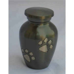 Pet Urn SMALL Gunmetal Colour  with Paws
