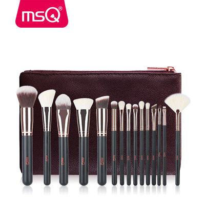 MSQ 15Pcs Pro Makeup Brushes Cosmetic Powder Foundation Make Up Brush Set