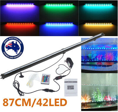87CM 42LED RGB Remote Color Changing LED Aquarium Fish Tank Light Air Curtain AU