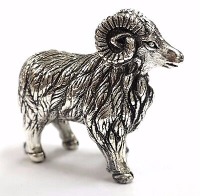 Collectable Antique Style Ram Sheep Figurine 925 Sterling Silver