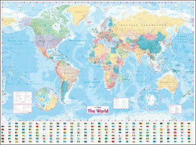 Collins World Wall Laminated Map by Collins Maps Free Shipping!