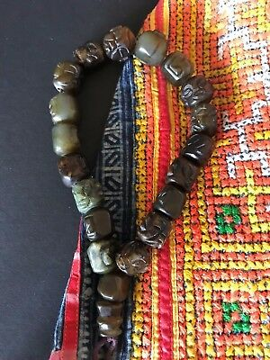 Old Tibetan Carved Jade Prayer Beads …beautiful collection piece