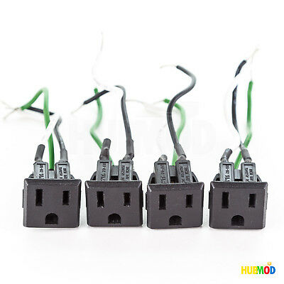 4X RICH BAY RU-02 AC Plug 15A 125V Socket Outlet Power Receptacle Snap-In w/Wire