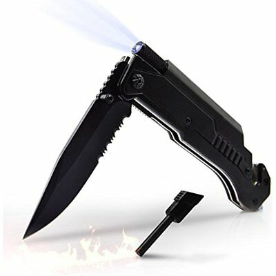 5 In 1 Multifunctional Tactical Survival Pocket Knife Folding With LED Light,