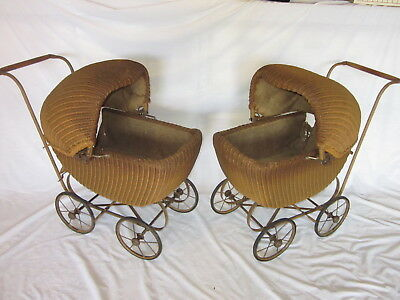 2 Matching Wicker Doll Baby Carriage Buggy Stroller Pram Canopy ~ ANTIQUE