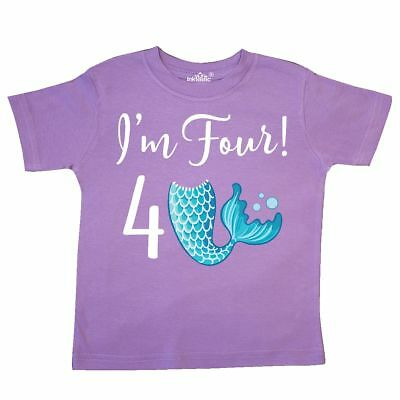Inktastic 4th Birthday Mermaid Party Toddler T-Shirt 4 Year Old Four Tail Im Kid