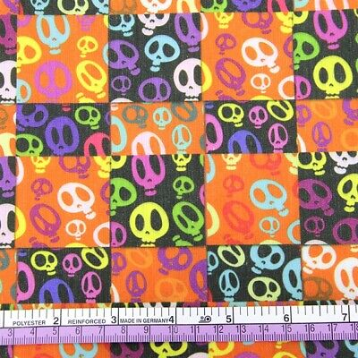 Fabric Halloween Rainbow Fun Skulls Print Polycotton Sold By 1/2 Yard 1/2 Meter