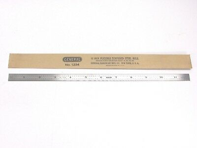 """NEW! GENERAL TOOLS 12"""" FLEXIBLE STAINLESS TEMPERED STEEL RULE, No. 1234"""