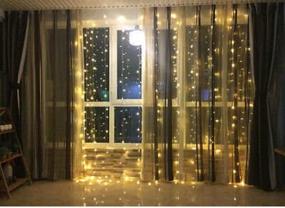 300 LED Warm White Lights Curtain String Fairy Lamp Christmas Wedding Party 3M