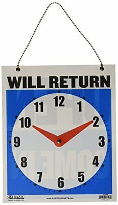 "BAZIC 7.5""x9"" ""WILL RETURN"" Clock Sign w/ ""OPEN"" on back Case of 24 Business"