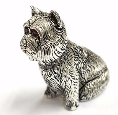 Antique Victorian Style Scotty Dog  Natural Ruby Eyes Figurine 925 Silver Plate