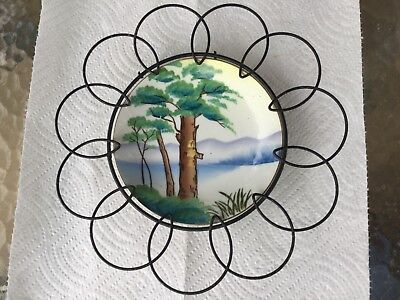 Unusual Tree & Scenery Wire Scalloped Hand Painted Wall Plate VTG No DMG