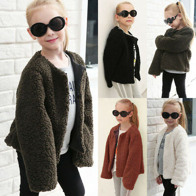 Toddler Kids Babys Girls Clothes Winter Faux Fur Warm Coat Tops Outwear Jacket G