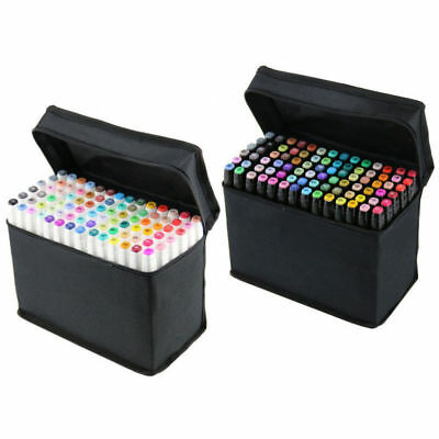 40/60/80 Colours Art Graphic Twin Marker Drawing Pen Set Broad Sketch Fine Point