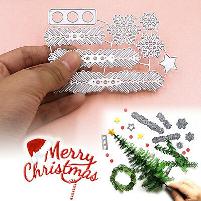 Metal Christmas Tree Wreath Cutting Dies Stencil Scrapbook DIY Paper Craft Gift