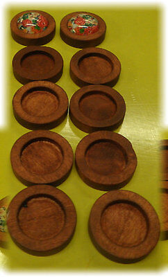 50pcs 12mm inner Antique Cherry Wood Wooden Cabochon Base Setting / Tray / Bezel