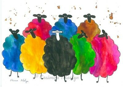 quirky Ducks PRINT Colourful size A4 from original watercolour By Casimira