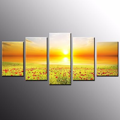 FRAMED Flowers Photo Giclee Canvas Print Art Canvas Painting Wall Art Decor-5pcs