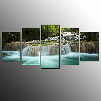 Framed Canvas Wall Art Painting Green Waterfall Canvas Print For Home Decor-5pcs