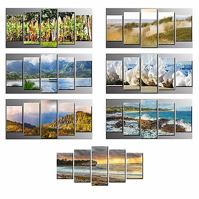 FRAMED Modern Canvas Print Sea Wave Mountain Sandbeach Wall Art Home Decor-5pcs