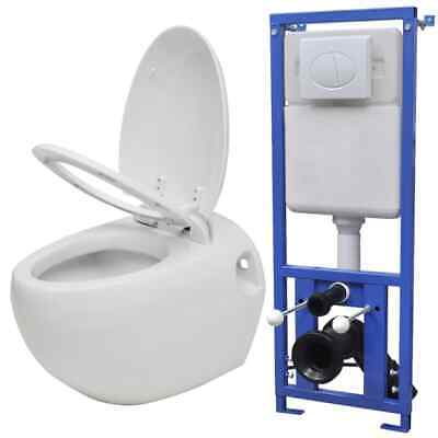 vidaXL Wall Hung Toilet Egg Design with Concealed Cistern White Bathroom WC