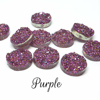 10 x Druzy 12mm Cabochon in Silver  AB Perfect for Earrings Drusy
