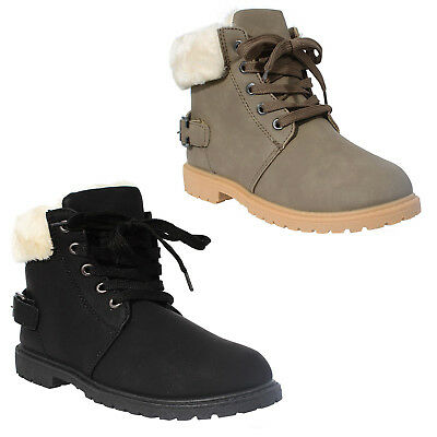 Unisex Girls Boys Faux Fur Winter Trainers Boots Lace Up Casual Kids Shoes Size