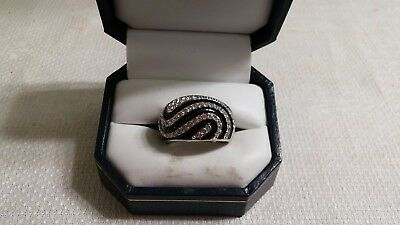Vintage Black Enameled Silvertone Metal Clear Crystal Cocktail Ring Size 8