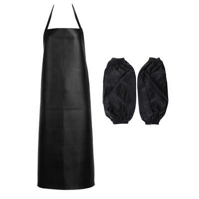Waterproof Chef Apron for Butcher Kitchen Cooking BBQ , with Sleeves - Black