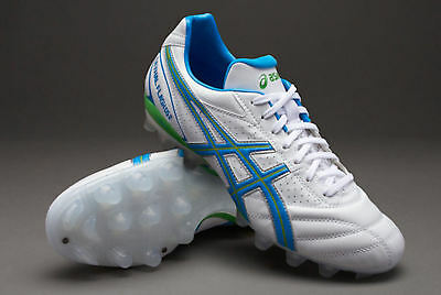 Asics Lethal Flash DS 2 IT Rugby Boots White/Maui Blue/Rave Green UK sz  7 8