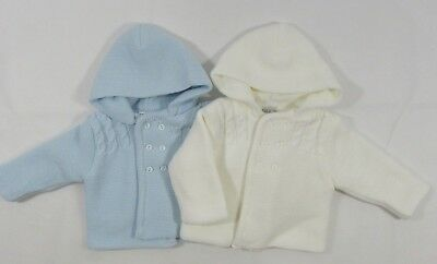 Baby Babies Girls Boys Button Up Hoodie Cardigan Double Knitted Pram Coat 618