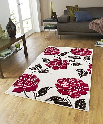 Cream/Red Florence 91 New Rug Carpet Polypropylene Anti allergic Floral Soft