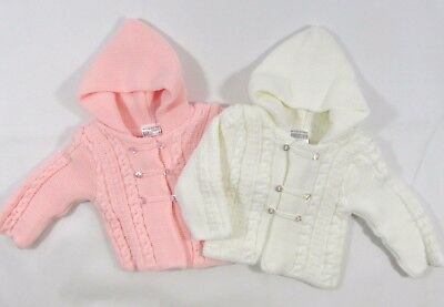 795ce17e2 BABY GIRLS BOYS Button Up Hooded Cardigan Double Knit Pram Coat ...