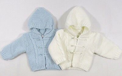 Baby Babies Girls Boys Button Up Hoodie Thick Cardigan White Blue Knitted 629