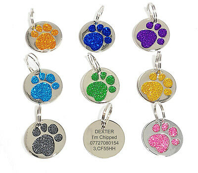 PERSONALISED 25mm GLITTER PAW PRINT DOG PET ID Tag DISC ENGRAVED UK VINCENZA