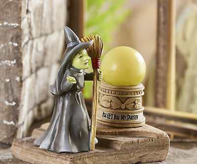 Fairy Garden Miniature - Wizard of Oz - Wicked Witch and LED Light Crystal Ball