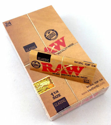 24 Pack Raw Classic Natural Unrefined 1.25 Cigarette Papers 768 Leaves - 3218-24