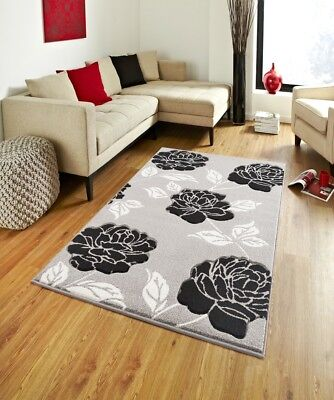 Grey/Black Florence 91 New Rug Carpet Polypropylene Anti allergic Floral Soft