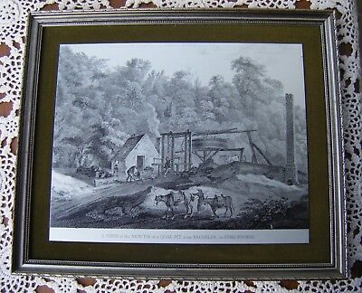 Vintage Framed Print Picture on Metal of a ''COAL PIT near BROSELEY SHROPSHIRE''