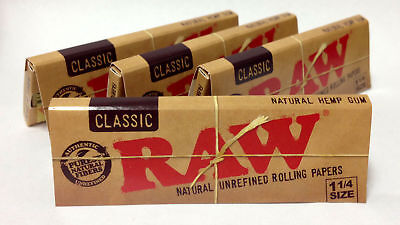4 Pk Raw Classic Natural 1.25 1 1/4 Cigarette Rolling Papers 128 Leaves 3218-4