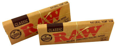2 Pk Raw Classic Natural Unrefined 1.25 1 1/4 Cigarette Papers 64 Leaves 3218-2