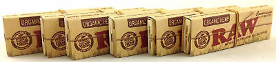 6 Pack Raw Organic Connoisseur Hemp 1 1/4 Cigarette Rolling Papers & Tips 3216-6