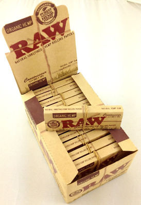 24 Pk Raw Organic Connoisseur Natural Unrefined Hemp Rolling Papers Tips 3216-24
