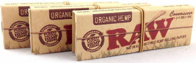 3 Pack Raw Organic Connoisseur Hemp 1.25 Cigarette Rolling Papers & Tips 3216-3