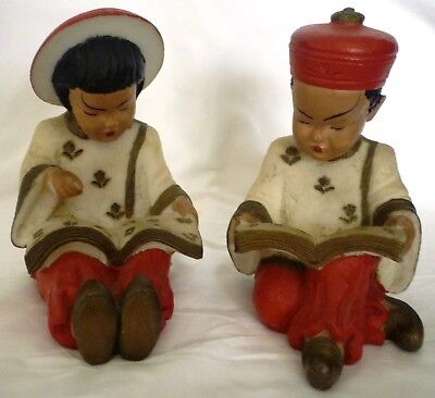 Antique Handpainted Stone Carving Chinese Reading Girl & Boy Figurine Bookends
